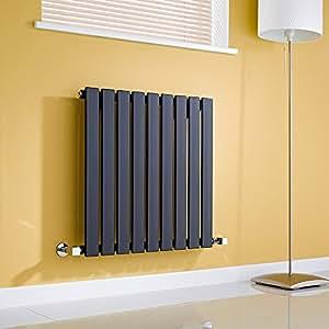 Milano Radiador de Diseño Horizontal - Negro Lúcido- 635mm x 630mm x 46mm - 563 Vatios - Delta