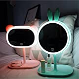 LUCKY CLOVER-AValentine's Day Xmas Gift ear lug Princess Makeup Mirror Table Lamp LED Portable Touch Screen Cordless Adjustable Desk Night Light(in pair)