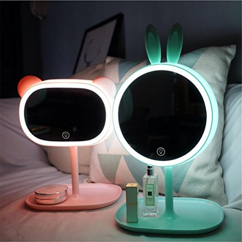 LUCKY CLOVER-AValentine's Day Xmas Gift ear lug Princess Makeup Mirror Table Lamp LED Portable Touch Screen Cordless Adjustable Desk Night Light(in pair) by LUCKY CLOVER-A