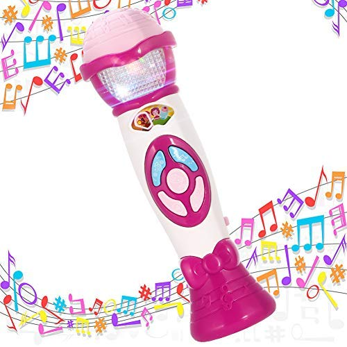 Lumiparty Kids Microphone Karaoke Microphone Machine, Music Microphone,Voice Changing and Recording Microphone with Colorful Lights, Best Toys for Kids Girls Toddlers.(Pink)