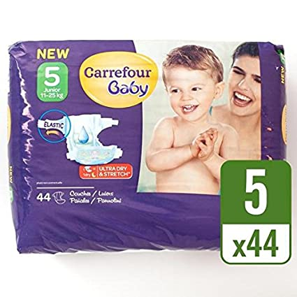 Carrefour Baby Pack de 44 Pañales ultra dry talla 5 por paquete