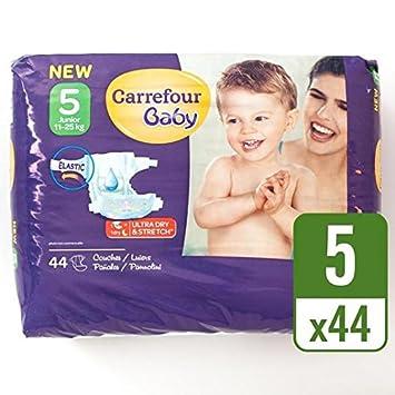 Carrefour Baby Pack de 44 Pañales ultra dry talla 5 por paquete: Amazon.es: Bebé