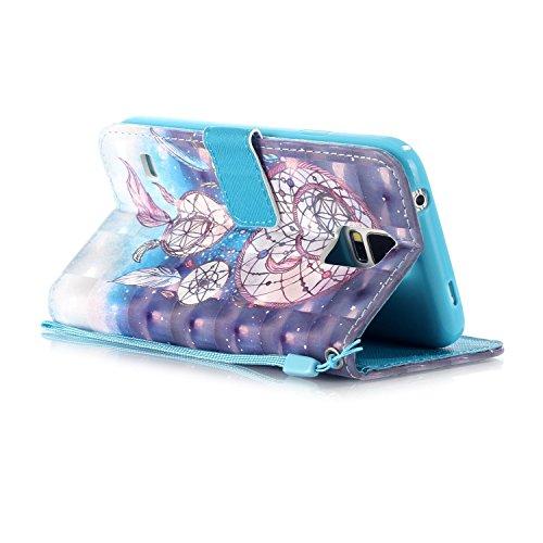 Diamante Funda Galaxy S5 / S5 Neo PU Leather Cuero Cubierta Impresión Libro Carcasa - Sunroyal® Wallet Case [Anti-Arañazos] Flip Cover Brillante Bling Rhinestone Cierre Magnético Función Soporte,Bille A-06