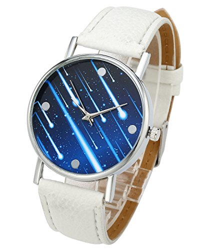 Top Plaza Unisex Simple Casual Silver Tone Analog Watch Meteor Pattern No Number Dial PU Leather Strap Quartz - Number Meteor