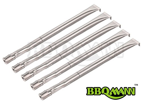 BBQMANN BA361 (5-pack) Universal Straight Stainless Steel Pipe Burner for Charmglow, Nexgrill, Costco Kirkland, Perfect Glo, Permasteel, Sterling Forge, and Other ()