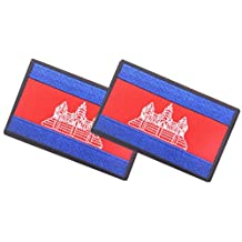 QTao PA111 Multiple Country Flag Velcro Patch 2 PCS (Cambodia)