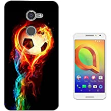 001484 - Cool Fun Trendy Sports Goal Soccer Football Fire Win Champions Design alcatel A3 XL 6inch CASE Gel Silicone All Edges Protection Case Cover