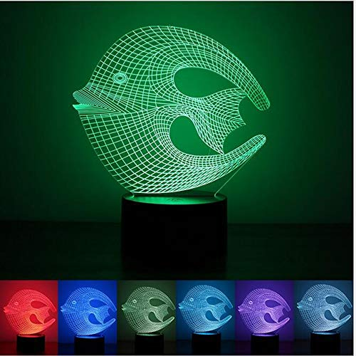 - Kabeto Tropical Coral Fish 3D USB LED Lamp Moon Shape Colorful Bedroom Living Room Night Light Decoration Gadget Props