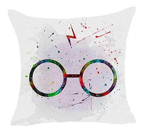 1 Piece 18 x 18 Teal Purple Harry Potter Theme Throw Pillow Cover, White Blue Harrypotter Themed Cushion Case Harry's Glasses Hogwarts School Of Witchcraft And Wizardry Wizards Magical Spells Cotton