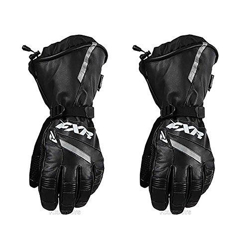 FXR Mens Racing Snowmobile Insulated Waterproof Leather Gauntlet Glove - Black - ()