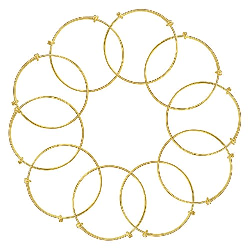 Wire Expandable Bangle Bracelet Blank For DIY Jewelry Making Pack Of 10pcs,2.5 Inch,Golden Tone (Bracelet Blanks Gold)