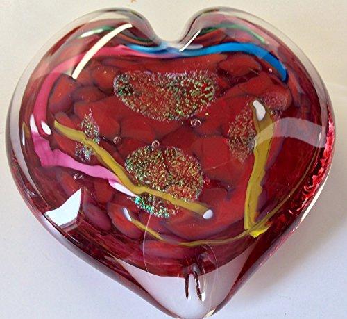 Handmade Artist Totally Blown Glass Heart Shaped Paperweight Red