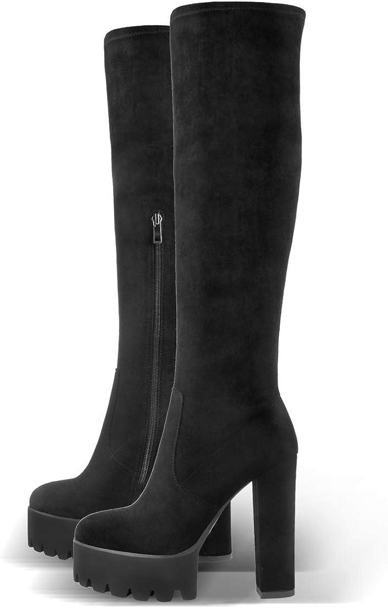 Onlymaker Faux Suede Platform Ankle Bootie Round Toe Sock Booties Plus Size Zip