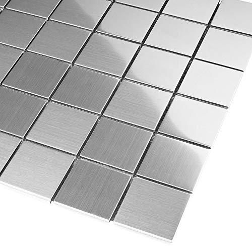 Edelstahl Mosaikfliesen Mosaik Silber 2,3 x 4,8 cm