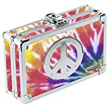 Vaultz Locking Pencil Box, 8.25 x 5.5 x 2.5 Inches, Tie Dye with Peace Sign, Color May Vary (VZ00082)