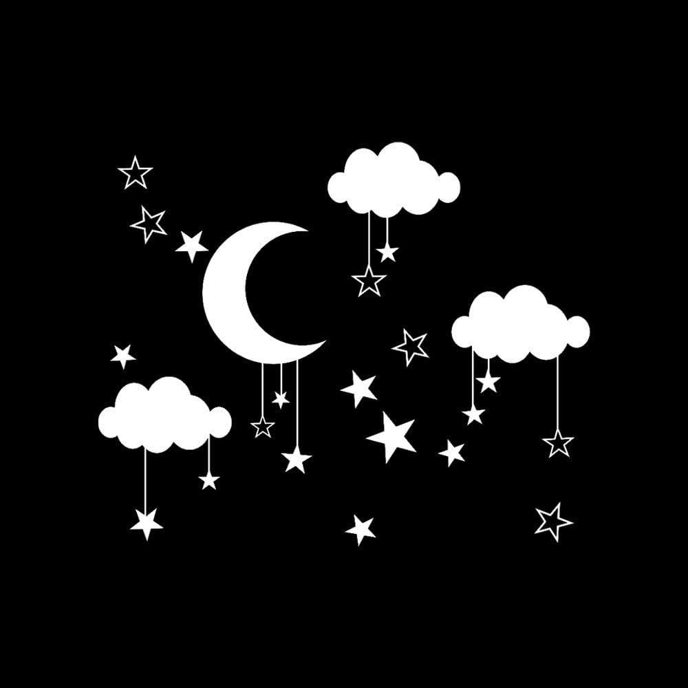 Sticker Mural Grande /étoile de Lune Stickers muraux Chambre denfant D/écoration Art Papier Peints Muraux D/écor /à la Maison pour Salon Chambre Cuisine Restaurant MOIKA Braderie