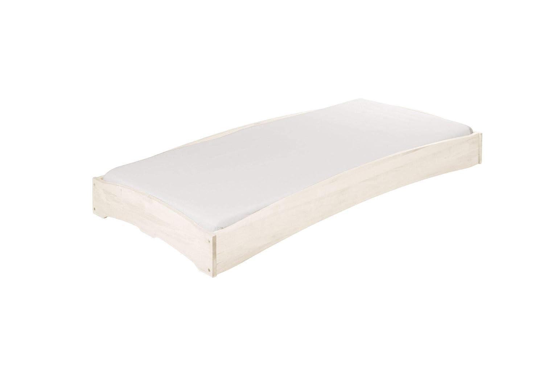 BioKinder 23595 Leandro Kinderbett Stapelbett aus Massivholz Kiefer weiß lasiert 90 x 200 cm 1 Stück