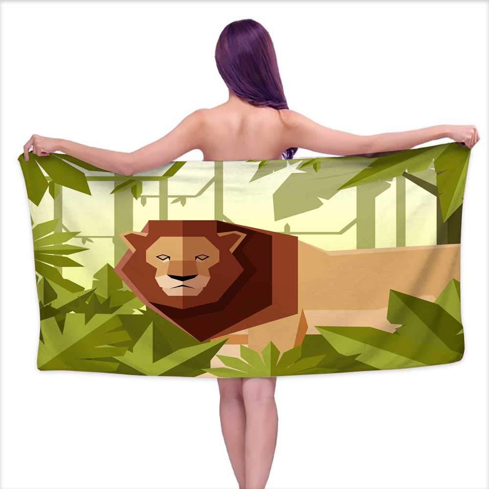 smallbeeflyyyyy Bath Towel Set Flat Geometric Jungle Background with Lion,W28 xL55 for Kids Mickey Mouse
