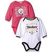 Gerber Childrenswear  Love Football  2Pk Long Sleeve Bodysuit, 0-3 Months, Pink