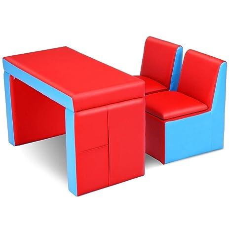 Amazon Com Honey Joy Kids Sofa 2 In 1 Multi Functional Kids Table