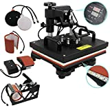 ZENY Digital Heat Press Transfer 5 in 1 Swing Away Heat Press Machine for T-shirt Mug Hat Plate Cap