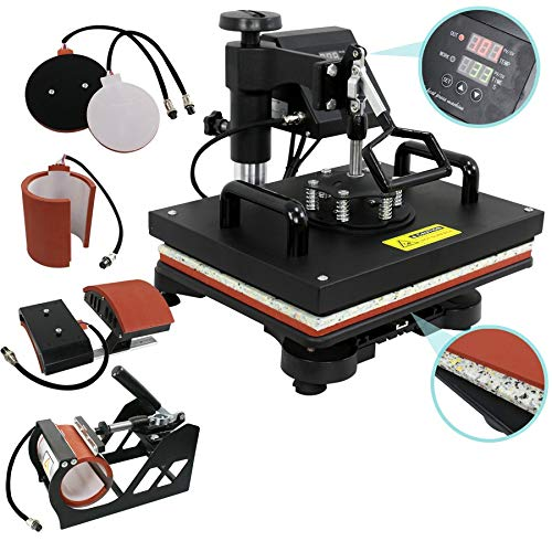 ZENY Digital Heat Press Transfer 5 in 1 Swing Away Heat Press Machine for T-shirt Mug Hat Plate Cap ()