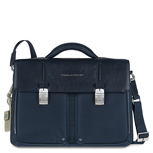 Piquadro Organized Computer Briefcase with Two Compartments, Dark Blue, One Size by Piquadro