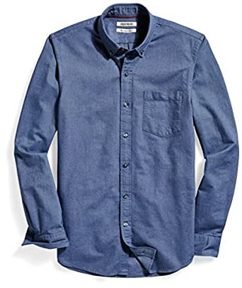Goodthreads Men's The Perfect Oxford Shirt Slim-Fit Long-Sleeve Solid with Pocket, Indigo, Small