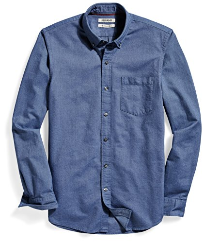 Goodthreads Men's Slim-Fit Long-Sleeve Solid Oxford Shirt with Pocket, Indigo, Medium