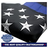 VSVO Thin Blue Line American Police Flag 3x5 ft: Made in USA - Embroidered Stars and Sewn Stripes with Grommets Black White and Blue USA Flags