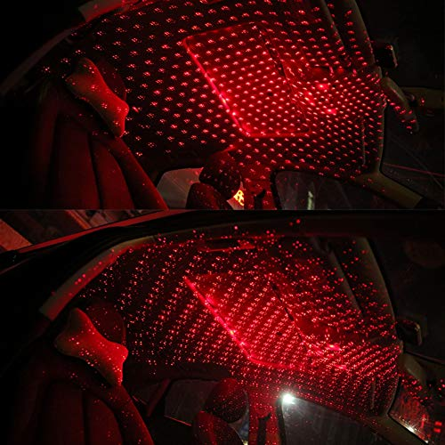 WISREMT Car Roof Star lights, Voice Control LED Car Projector Light USB Ceiling Lights Rotating Atmosphere Light Ambient Lamp Car Interior Lighting for Car/Home/Party (Red)