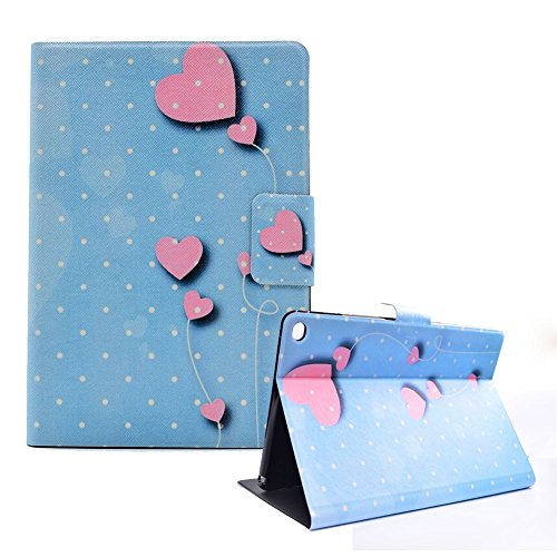 Funyye Magnetic Closure Case for iPad Air/iPad 5,Stylish Love Heart Balloon Design Ultra Thin with Credit Card Holder Slots Stand Function Smart Flip Soft Silicone PU Leather Case for iPad Air/iPad 5 by Funyye