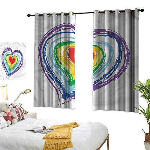 (Lightly Waterproof Window Curtain Doodle,Nested Rainbow Heart 54