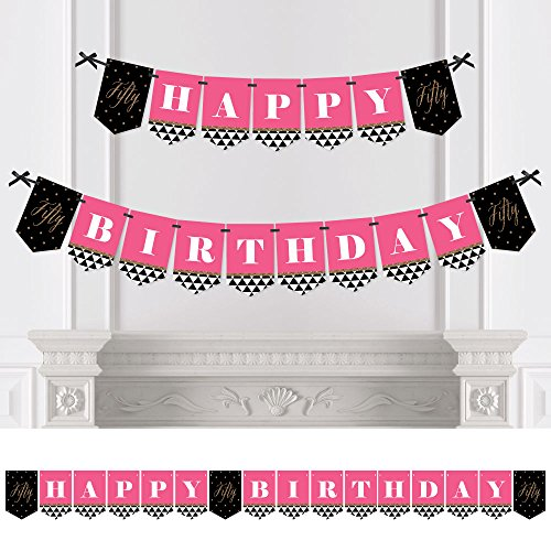 Big Dot of Happiness Chic 50th Birthday - Pink, Black and Gold - Birthday Party Bunting Banner - 50th Party Decorations - Happy Birthday
