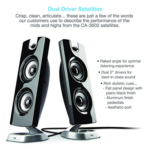 Cyber Acoustics CA-3602FFP 2.1 Speaker Sound System with Subwoofer and Control Pod - Great for Music, Movies, Multimedia PCs, Macs, Laptops and Gaming Systems by Cyber Acoustics (Image #2)