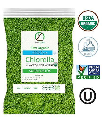 (Zen Labs Chlorella Powder Raw Organic (Cracked Cell Walls) Super Detox Superfood (1lb)