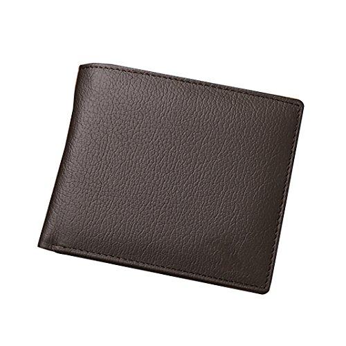Asnlove Billetera para Hombre Pequeña, Cartera Billetera de Piel Cuero Tipo Libro Delgada Monedero Tarjeta De Crédito Billetera Piel Vertical Dinero Bolso, Negro Color-5