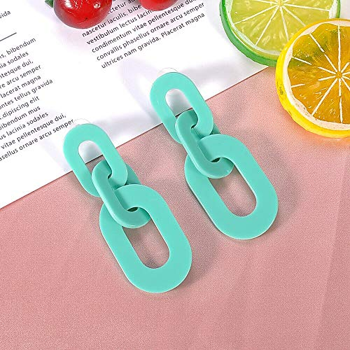 - Fashion Women Candy Color Big Oval Plastic Chain Statement Acrylic Earrings 1