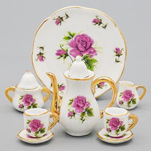 Odoria 1:6 Miniature 8PCS Porcelain Tea Cup Set Purple Chintz with Gold Trim Dollhouse Kitchen Accessories