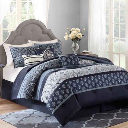 Better Homes and Gardens Indigo Paisley 7-Piece Bedding Comforter Set from Better Homes & Gardens