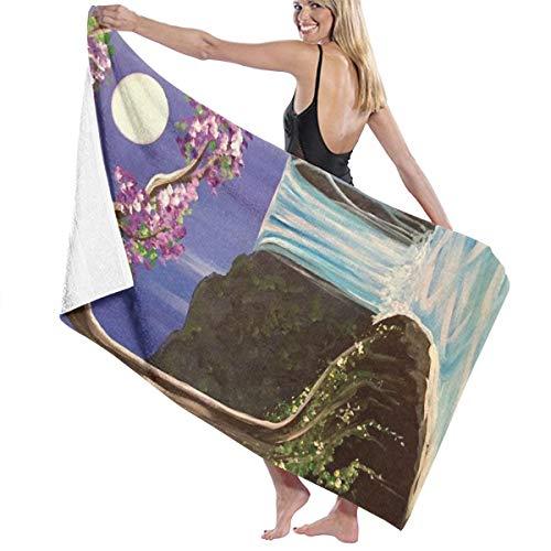 VenusLee Waterfall Moon Night Premium Bath Towels 100% Cotton Hotel Spa,Sports,Travel,Fitness,Yoga Maximum Softness Highly Absorbent 32x52 Inch