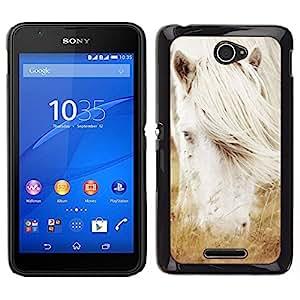 // PHONE CASE GIFT // Duro Estuche protector PC Cáscara Plástico Carcasa Funda Hard Protective Case for Sony Xperia E4 / Albino caballo blanco del semental /