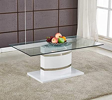 Portland - Mesa de centro para salón (tamaño grande, cristal ...