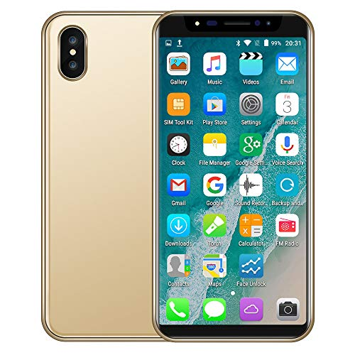Unlocked Cell Phone,5.8 inch Dual HD Camera Face Recognition 18:9 LCD Full Screen Smartphone 1GB+4GB Android 6.0 GSM/WCDMA Touch Screen WiFi Bluetooth GPS Call Mobile Phone (New 8X, Gold)