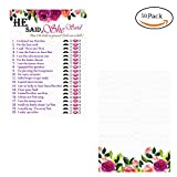 Neepanda Floral Bridal Shower Game, He Said She Said Cards for Wedding Shower Engagement Anniversary Bachelorette Party Game Idea, Funny Guessing Question Thick Cardstock, 50 Sheets, 6X3.5 inches
