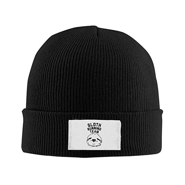 Sloth Running Team Winter Beanie Hats Black Knit Caps -