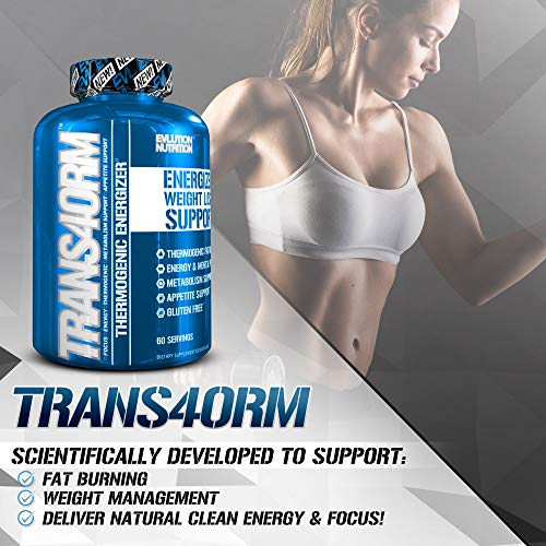 Evlution Nutrition Trans4orm Thermogenic Energizing Fat Burner Supplement, Increase Weight Loss, Energy and Intense Focus 2-Pack 60 Serving Capsules