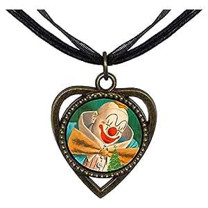 Chicforest Bronze Retro Style Santa clown Heart Shaped Pendant