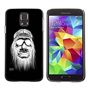 A-type Colorful Printed Hard Protective Back Case Cover Shell Skin for SAMSUNG Galaxy S5 V / i9600 / SM-G900F / SM-G900M / SM-G900A / SM-G900T / SM-G900W8 ( Black White Hippie Skull Death )