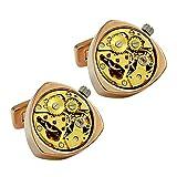 Luxury men's cool designer exquisite Mechanical watch movements triangle cufflinks, rose gold whale back cufflink